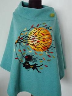 Plus Size Casual Long Sleeve Shirts & Tops – Sunnilook Woolen Clothes, Diy Kleidung, Felted Wool Crafts, Embroidery On Clothes, Shirt Bluse, Poncho, Plus Size Casual, Felt Art, Vintage Cotton