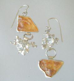 Assymetrical Eco Friendly Dangle Earrings by laurastamperdesigns, $95.00