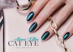 Gel Brush Cat Eye Atomic Kitten by Indigo Edicator Paulina Walaszczyk Cat Eye Gel, Cat Eye Nails, Dope Nails, Fun Nails, Dream Catcher Nails, Atomic Kitten, Nail Lab, Nails 2017, Indigo Nails