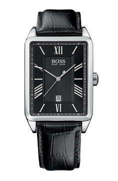 BOSS Black Rectangular Case Leather Strap Watch available at #Nordstrom  I like!!