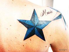 Blue Nautical Star Tattoo