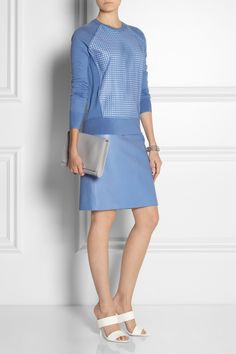 Reed Krakoff | Leather-paneled cashmere, wool and silk-blend sweater | Reed Krakoff|Leather pencil skirt|Alexander Wang | Glossed-leather mules | Maison Martin Margiela | Leather clutch