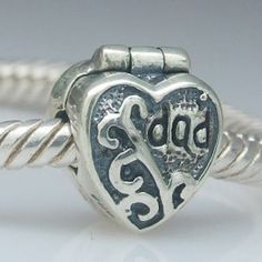 Love Dad Heart Clip Authentic 925 Sterling Silver Core Beads Family and Friends