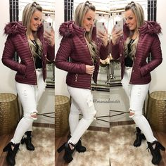 Unique Outfits, Cute Outfits, Denim Pencil Skirt, Winter Looks, Fur Jacket, Fashion Outfits, Womens Fashion, New Look, White Jeans