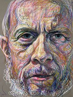 By Fred Hatt old guy so human growth, colours used are original so art growth, layering shows evolving in a way