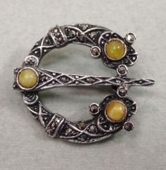 Sterling Silver Marcasite and Agate Pin Celtic Style