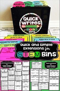 The following Quick Writes are designed to be used as simple literacy and math extensions to accompany my original STEM Bins product. Both lower grade and upper grade options are provided.