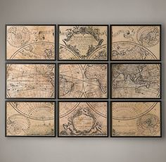 World Map Print : L'Isle's 1720 Guillaume de L'Isle ' mappe monde ' 9 panel world map - Vintage World Map - Not by restoration hardware Masculine Office Decor, Office Wall Decor, Office Walls, Vintage Office Decor, Masculine Apartment, Office Art, Office Chairs, Map Vintage, Outdoor Wicker Furniture