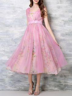 Lace Insert Floral Chiffon Flare Dress - PINK M