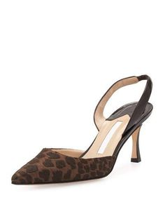 MANOLO BLAHNIK Carolyne Fabric/Patent Mid-Heel Halter Pump, Coffee Brown/Black. #manoloblahnik #shoes #pumps