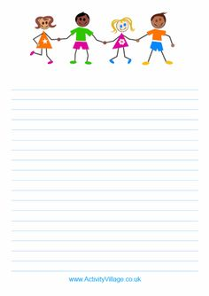 Colourful kids writing paper - printable writing paper with illustration of cute kids