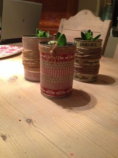 Super idea for tin cans. Decorate with what u like. We've used som x-mas tape and hemp tread
