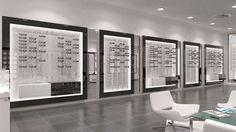 meuble opticien Clinic Interior Design, Clinic Design, Eyeglass Stores, Jewelry Store Design, Eyewear Shop, Store Layout, Optical Shop, Display Design, Retail Design