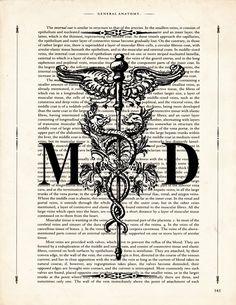 Fine Art Print: Vintage Medical Doctor Caduceus by ArtOfThePage Medical Doctor, Medical Art, Caduceus Tattoo, Piercing Tattoo, Piercings, Skeleton Art, Vintage Medical, Doctor Gifts, Shoulder Tattoo