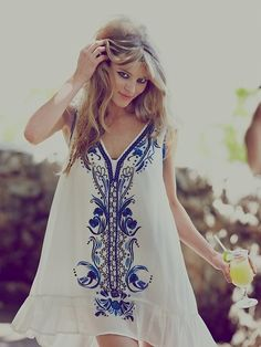 #bohemian #boho #fashion WITH SHORT SLEEVES IN LIGHT PINK AND SILVER OR LIGHT GREEN AND GOLD