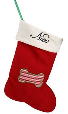 Pet Studio NaughtyNice Christmas Bone Dog Stocking 1112Inch ** Read more reviews of the product by visiting the link on the image.