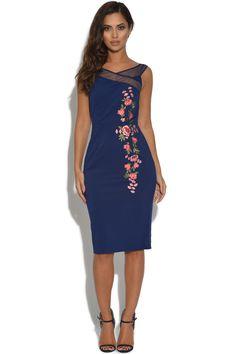 Little Mistress Navy Floral Embroidered Bardot Dress