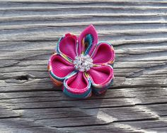 Hair clip Ribbon Kanzashi Flower Color Pink on Pink  by krantwist, $6.99