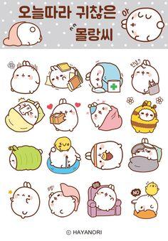 New Molang emoticons for Kakao Talk Video Rezept Diy Kawaii, Chibi Kawaii, Kawaii Doodles, Cute Kawaii Drawings, Cute Animal Drawings, Cute Doodles, Kawaii Art, Stickers Kawaii, Cute Stickers