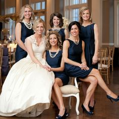 Navy & Pearl Wedding Party Looks // photo: Olive Juice Studios // http://www.theknot.com/weddings/album/a-classic-elegant-wedding-in-minneapolis-mn-132793