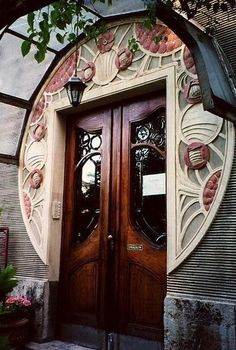 tremblingcolors: Art Nouveau door designed by Henry Van de Velde