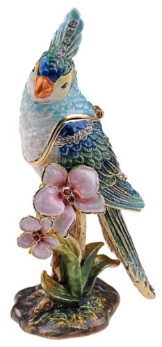Blue Cockatiel Enameled Trinket Box Jewelry incl Necklace Pendant | eBay im partial to ocean creatures and birds, this one is very lovely