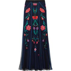 Temperley London Eliah embroidered tulle maxi skirt (£540) ❤ liked on Polyvore featuring skirts, bottoms, maxi skirts, saia, navy, blue skirt, long skirts, blue tulle skirt, long maxi skirts e long tulle skirt