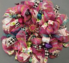 Deco Mesh Christmas Wreath, Retro Christmas #housewares #homedecor @EtsyMktgTool http://etsy.me/2agk5yW