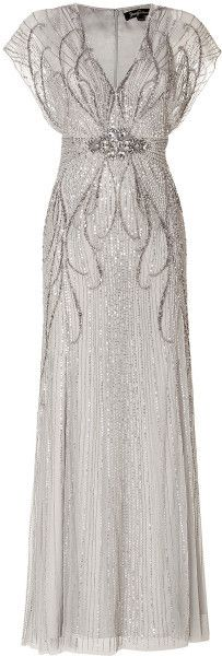 Jenny Packham Silver Sequin Embellished Gown in Platinum