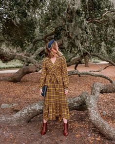 Thanksgiving dresses, thanksgiving outfit idea, plaid mix dress, croc leather booties, navy headband @louellareese  #thanksgivingoutfit #thanksgivingoutfitidea #thanksgivingdress #fallmaxidress