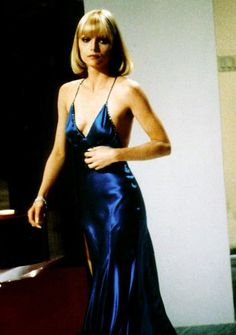 Elvira Hancock played by Michelle Pfeiffer, in the movie Scarface. Elvira Hancock, Kim Basinger, Denise Richards, Michelle Pfeiffer Scarface, Satin Dresses, Blue Dresses, Chiffon Dress, Kate Middleton Wedding, Iconic Dresses