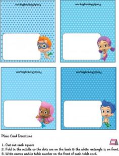 {Free} Printable Bubble Guppies Place Card