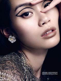 thebeautymodel: Ming Xi by David Slijper for Vogue China September - Make Up Forever Eyeliner Designs, Make Up Looks, Runway Makeup, Beauty Makeup, Makeup Style, No Eyeliner Makeup, Hair Makeup, Eyeliner Ideas, Eyeline Makeup