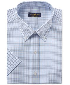 Club Room Men's Classic-Fit Easy Care Light Blue Double Tattersall Short-Sleeve Dress Shirt, Only at Macy's - Dress Shirts - Men - Macy's