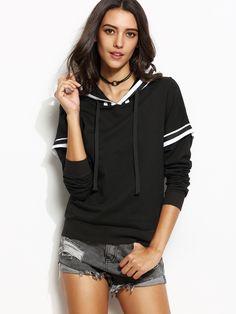 20$  Watch here - http://dikql.justgood.pw/go.php?t=5638 - Black Varsity Striped 2 In 1 Hooded Sweatshirt 20$
