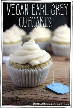 A perfect treat for Mothers Day, any special occasion,… Vegan Earl Grey Cupcakes. A perfect treat for Mothers Day, any special occasion, or just because you are in a cupcake mood (because who needs an excuse to eat a cupcake). Vegan Treats, Vegan Foods, Vegan Dishes, Vegan Dessert Recipes, Cupcake Cakes, Tea Cupcakes, Champagne Cupcakes, Mocha Cupcakes, Gourmet Cupcakes