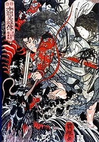 Susanoo is the Shinto god of the sea & storms. He is also considered to be ruler of Yomi.  In Japanese mythology, Susanoo, the powerful storm of Summer, is the brother of Amaterasu, the goddess of the sun, and of Tsukuyomi, the god of the moon. All three were born from Izanagi, when he washed his face clean of the pollutants of Yomi, the underworld. Amaterasu was born when Izanagi washed out his left eye, Tsukuyomi was born from the washing of the right eye, and Susanoo from the nose.