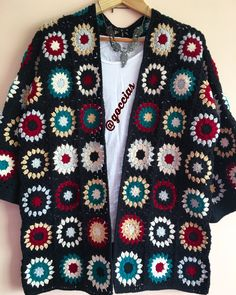 Likes, 20 Comments - Muh Crochet Coat, Crochet Jacket, Knitted Poncho, Crochet Cardigan, Bead Crochet, Crochet Clothes, Knitted Hats, Crochet Squares, Crochet Granny