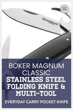 Looking for the Boker Magnum Classic Stainless Steel Folding Knife And Multi-tool for your urban everyday carry gear? Save money on everyday carry premium pocket knives. Explore top-rated budget-friendly compact lightweight utility knives and other essential EDC gear at affordable prices from Gear Supply Company. #everydaycarry #edcknives #pocketknives #urbaneverydaycarry Edc Keychain, Keychain Tools, Edc Fixed Blade Knife, What Is Edc, Prepper Supplies, Urban Edc, Everyday Carry Items, Edc Tools, Pocket Knives