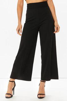 Ariella Black Crepe Wide Leg Trousers