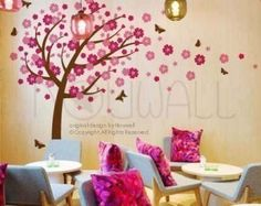 Leafy Winter Tree Wall Decal Living Room birds Wall by NouWall