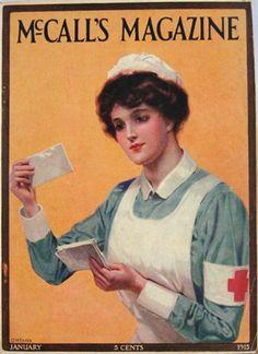 1915 McCall's Magazine Cover ~ Red Cross Nurse