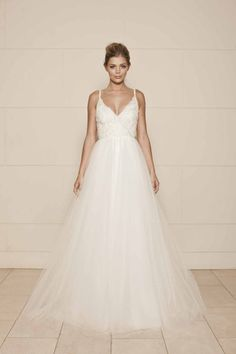 spaghetti straps lace bodice charming backless ball gown wedding dress