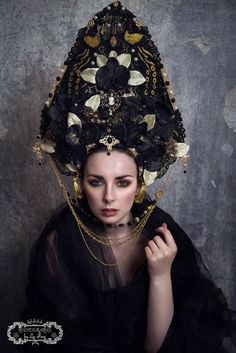 Black and Gold 'Calanthe' Orchid Peacock Opulent Kokoshnik Priestess Headdress by livfreecreations on Etsy