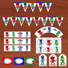 PJ Masks Printable Party Decorations - Banner, Cupcake Toppers & Wrappers, Drink Labels, Food Labels and Thank you Tags (Instant Download)