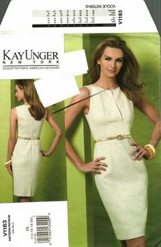 Vogue 1183 v1183 Pattern uncut 14 16 18 20 Fitted Lined Dress Kay Unger