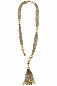 I LOVE this necklace. its from Stella & Dot and it has a unique front hook closure that is ajustable for lenght and can be worn multiple different ways with an adorable tassel. the only problem is that its $138