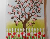 Gorgeous highly detailed card! Blossoming tree with heart shaped flowers in front of a sweet white picket fence