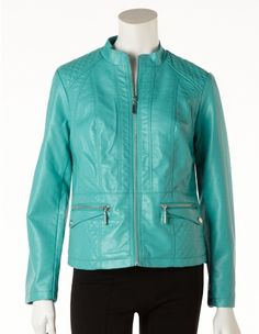 Turquoise Quilted Pleather Jacket (Petite Only)  New jacket!