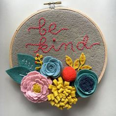 Embroidery Hoop Art Wall Art Be Kind with 3 by nolaandvi on Etsy